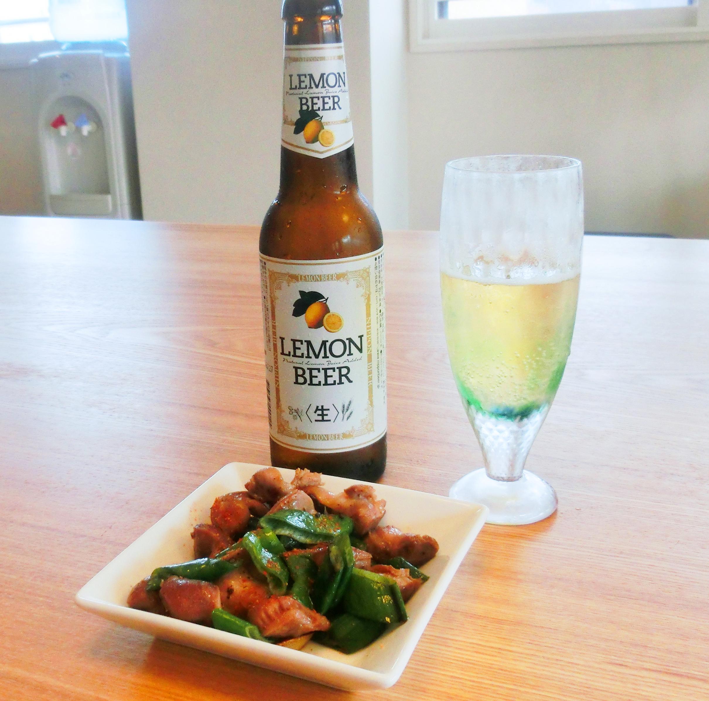 水曜夜の黄金コンビ レモンビール&砂肝のガーリック炒め