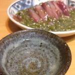 【初夏を思ふ】かつおの刺身と日本酒「千峰 天青」