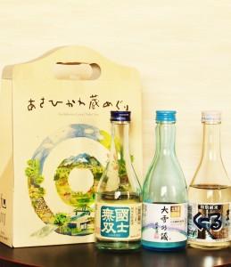「髙砂酒造株式会社」。その三つの蔵元の清酒を楽しめるのが「あさひかわ蔵めぐり」(300㎖3本セット)