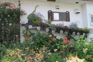 池永さんのお庭。アニメ銀河鉄道999をイメージして製作をお願いした列車の花箱。