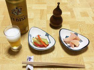 ヱビスビールと新生姜&ピクルス