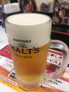 「生ビール(サントリーモルツ)」350円