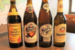ドイツビール。左から「シュレンケルラ・ラオホビア メルツエン」「シュナイダー・ヴァイセ アヴェンティヌス」「マイセルズ ヴァイス」「エルディンガー・ヴァイスビア」