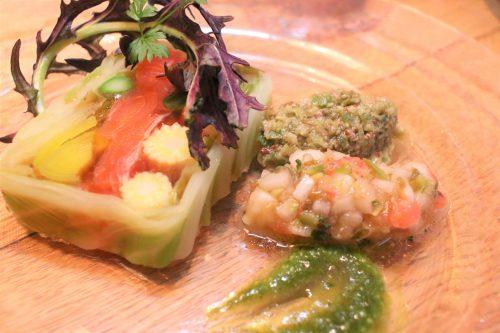 信州サーモンと春野菜のテリーヌ