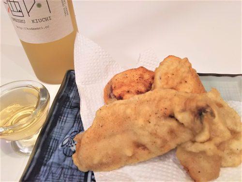 サツマイモの天ぷらと『木内梅酒』