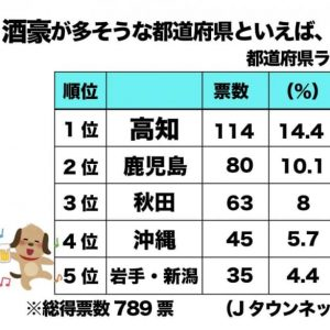 発表!酒豪が多そうな都道府県ランキング 3位秋田2位鹿児島、1位はやっぱり…